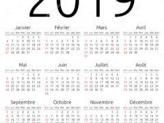 Simple annual 2019 year wall calendar. French language. Week starts on Sunday, Canada. Sunday highlighted. No holidays highlighted. EPS 8 vector illustration, no transparency, no gradients
