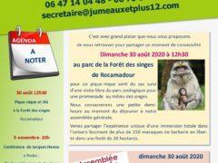 Agenda Jumeaux et Plus août 2020 et invitation
